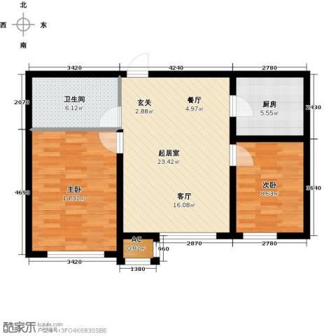 宇圣明珠2室0厅1卫1厨68.00㎡户型图