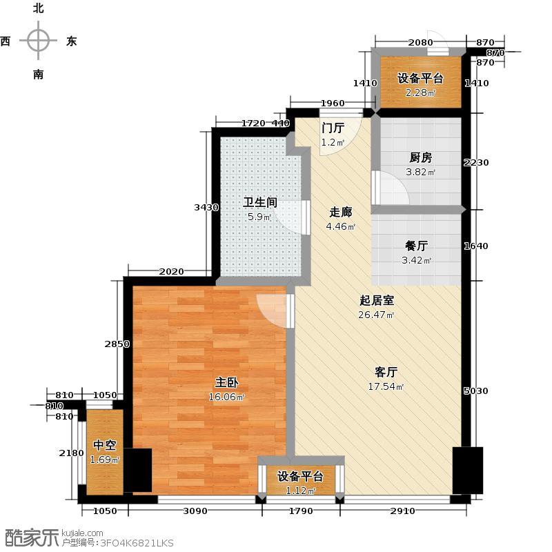 嘉和广场63.63㎡D户型1室1厅1卫