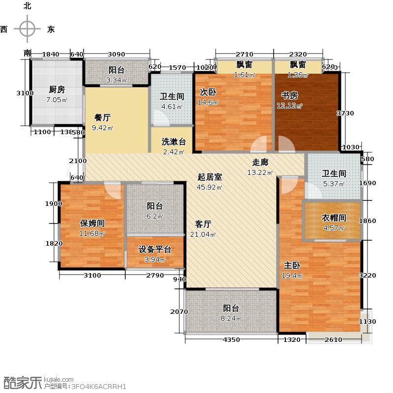 海山金谷E1户型3室2卫1厨