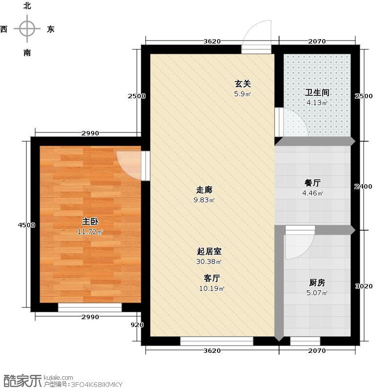 秀月佳苑73.27㎡D户型 一室半二厅一卫户型1室2厅1卫