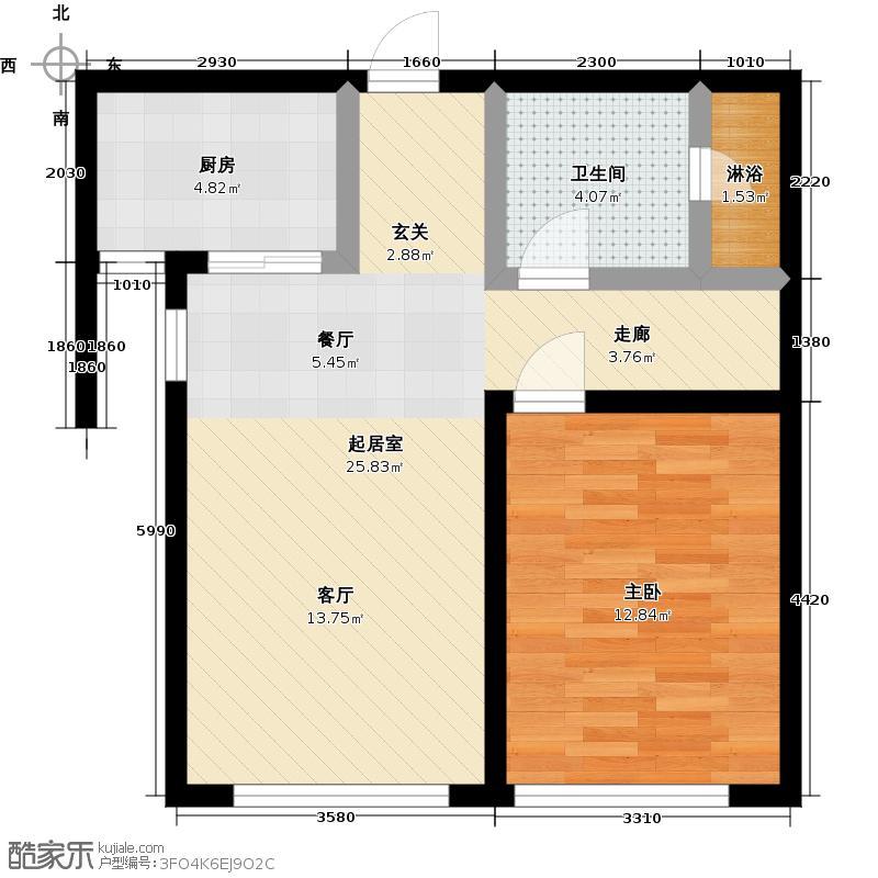 颐和星海74.75㎡B户型6/7/8-2#/3# 一室二厅一卫户型1室2厅1卫
