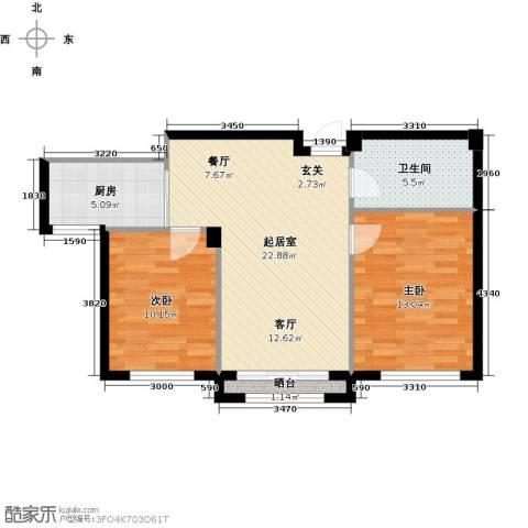 钰桥中央庭院2室0厅1卫1厨65.00㎡户型图