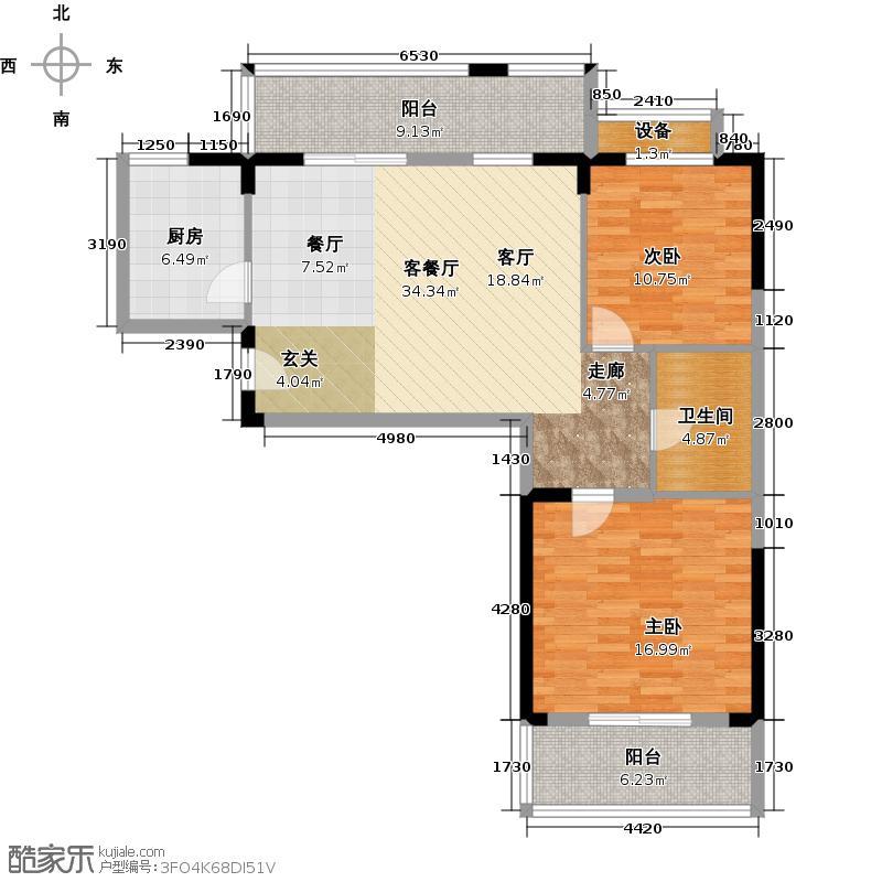 华天明珠花园张公苑96.78㎡A-1a户型2室2厅1卫