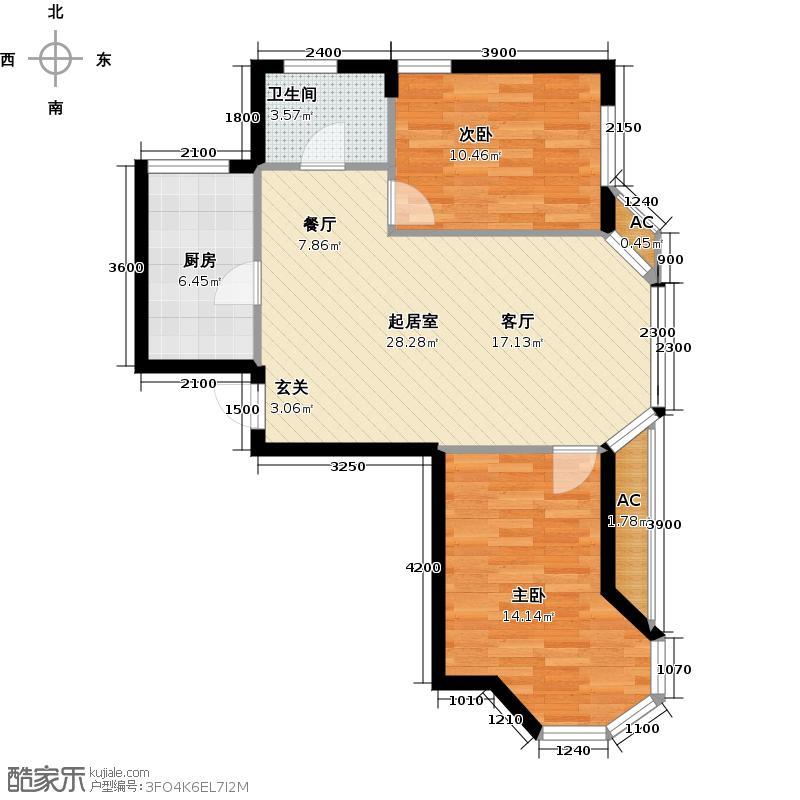 君悦晟景乐家82.20㎡B32室1厅户型2室1厅1卫QQ