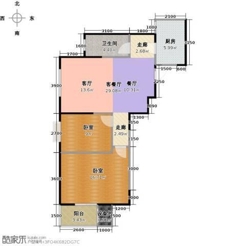 金泰怡景花园1厅1卫1厨95.00㎡户型图