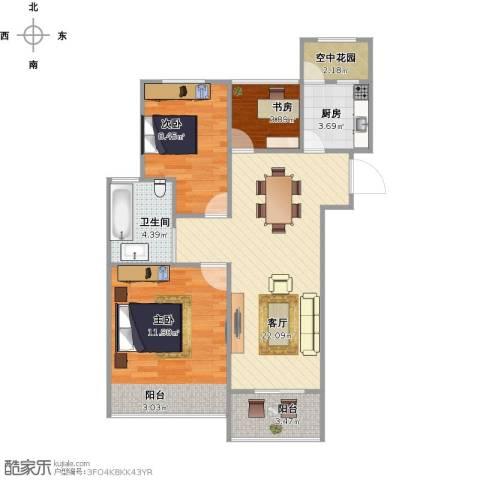 九龙仓时代上院别墅3室1厅1卫1厨86.00㎡户型图