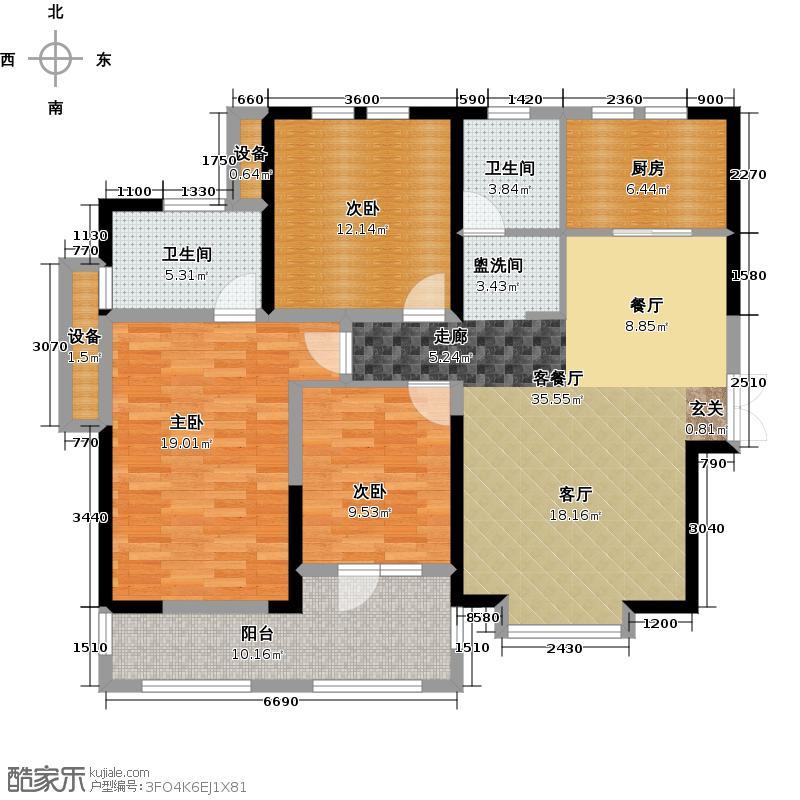 福星惠誉水岸国际137.00㎡A1-1户型3室2厅2卫1厨 137.00㎡户型2室2厅1卫