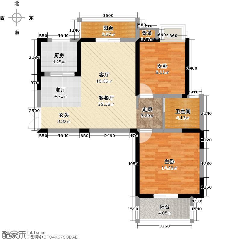 福星惠誉水岸国际91.00㎡K6地块8、9号楼D3户型 两房两厅一卫户型2室2厅1卫