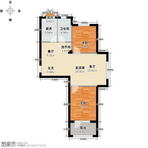 易和岭秀滨城2室0厅1卫1厨85.00㎡户型图