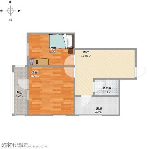 兴政西里2室1厅1卫1厨60.00㎡户型图