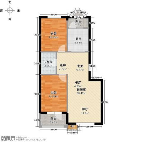 易和岭秀滨城2室0厅1卫1厨91.00㎡户型图