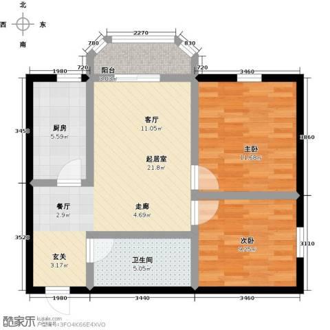 山屏美境2室0厅1卫1厨66.00㎡户型图