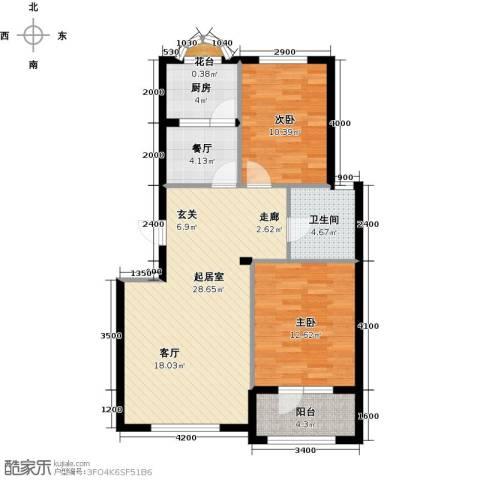 易和岭秀滨城2室1厅1卫1厨84.00㎡户型图