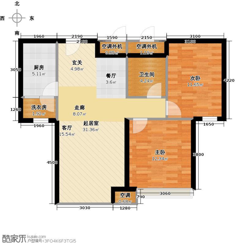 华业玫瑰东方89.00㎡2室2厅1卫1厨户型
