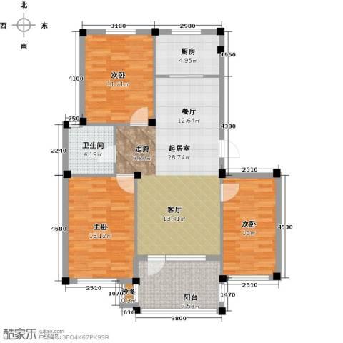 鼎新悦府3室0厅1卫1厨100.00㎡户型图