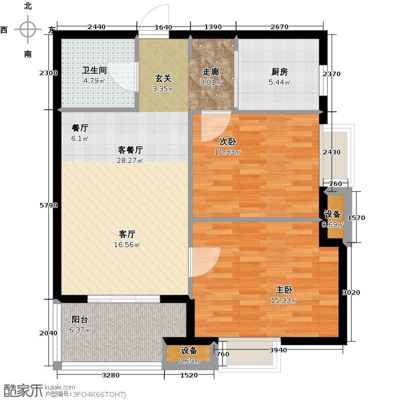 瀛海金洲83.38㎡B3户型2室2厅1卫