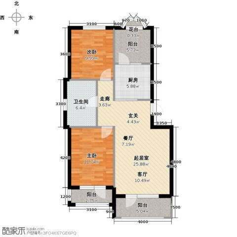 易和岭秀滨城2室0厅1卫1厨104.00㎡户型图