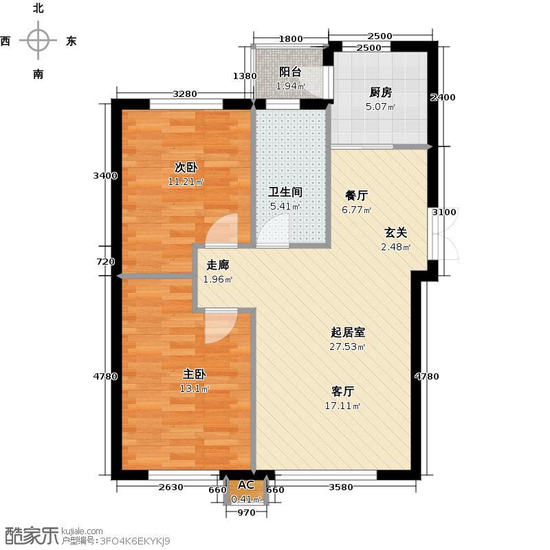 鑫汇茗苑85.43㎡J1户型二室二厅一卫QQ