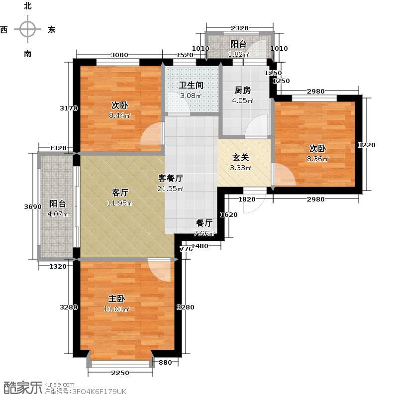 华太财富广场99.00㎡F户型 三室二厅一卫户型3室2厅1卫