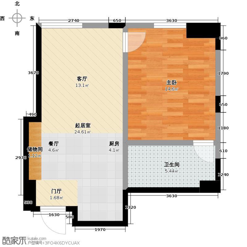 一方国际72.40㎡S1户型 一室两厅一卫 72.4平米户型1室2厅1卫