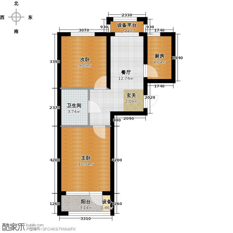 花溪镇64.00㎡XC1户型 二室一厅一卫户型2室1厅1卫