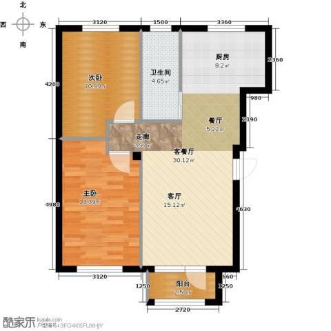 兰亭假日2室1厅1卫0厨83.00㎡户型图