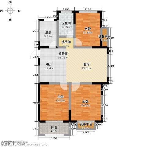 聚盛花园明日星城3室0厅1卫1厨133.00㎡户型图