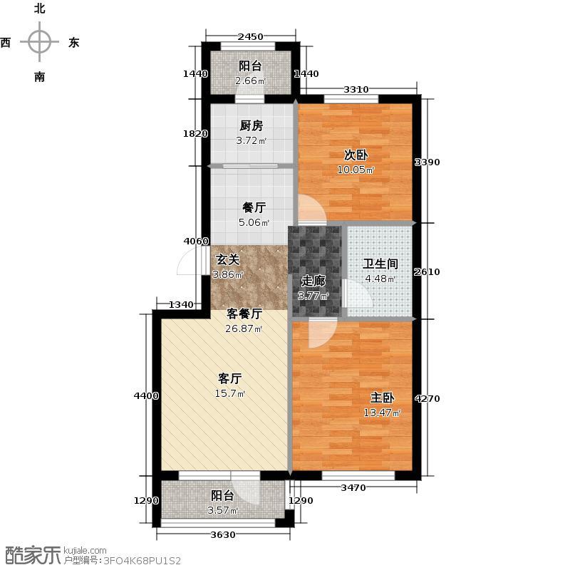 美林香颂78.32㎡两室两厅一卫户型2室2厅1卫