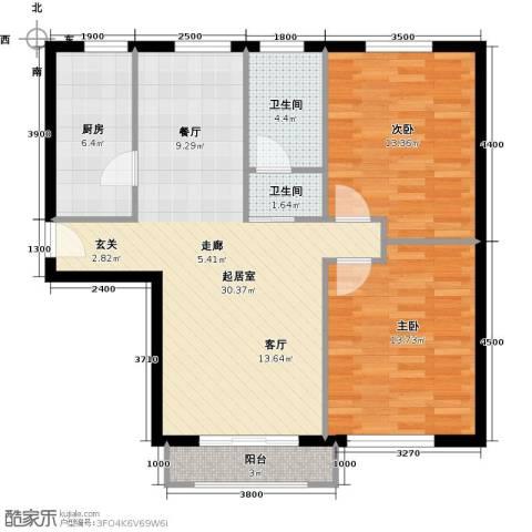 岭湾峰尚2室0厅2卫1厨86.00㎡户型图