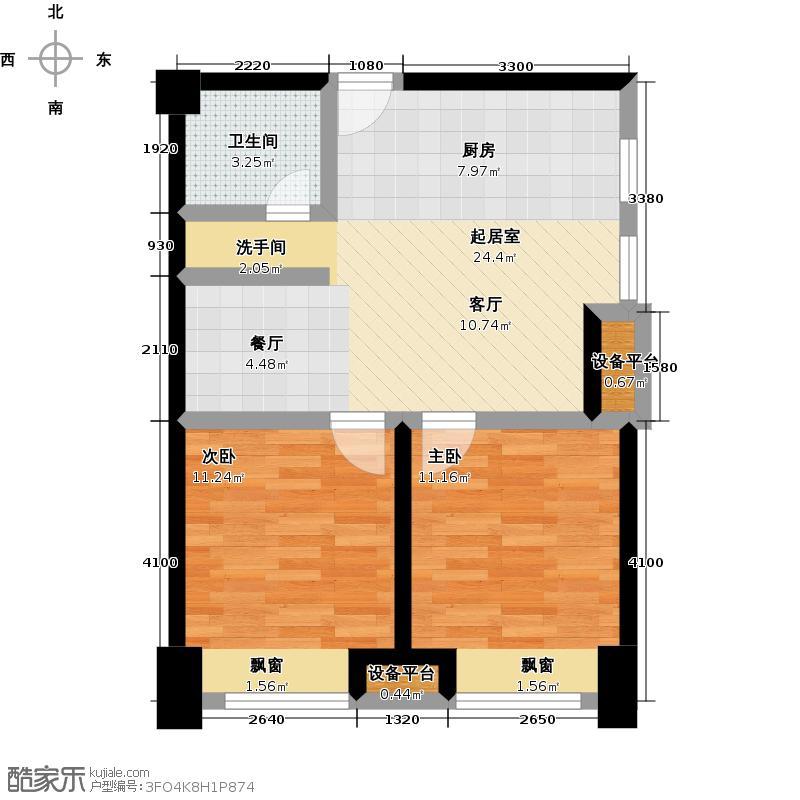 金科VISAR国际5#-b-户型2室1卫
