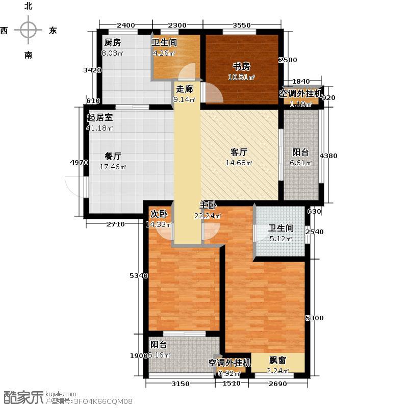 武进吾悦广场136.00㎡二期C户型 3室2厅2卫户型3室2厅2卫