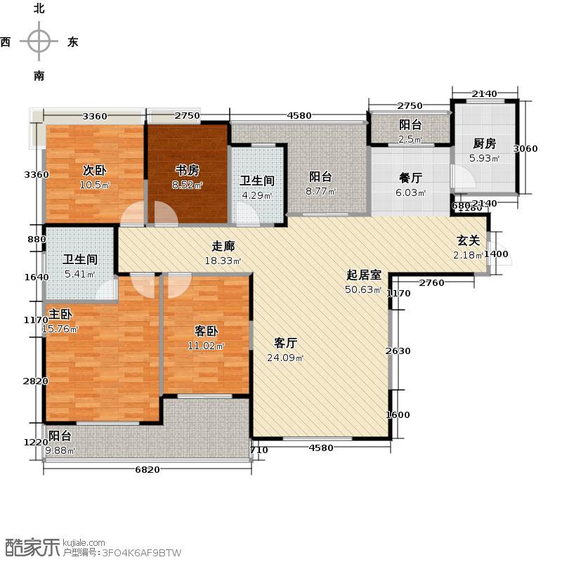 海山金谷C1户型4室2卫1厨