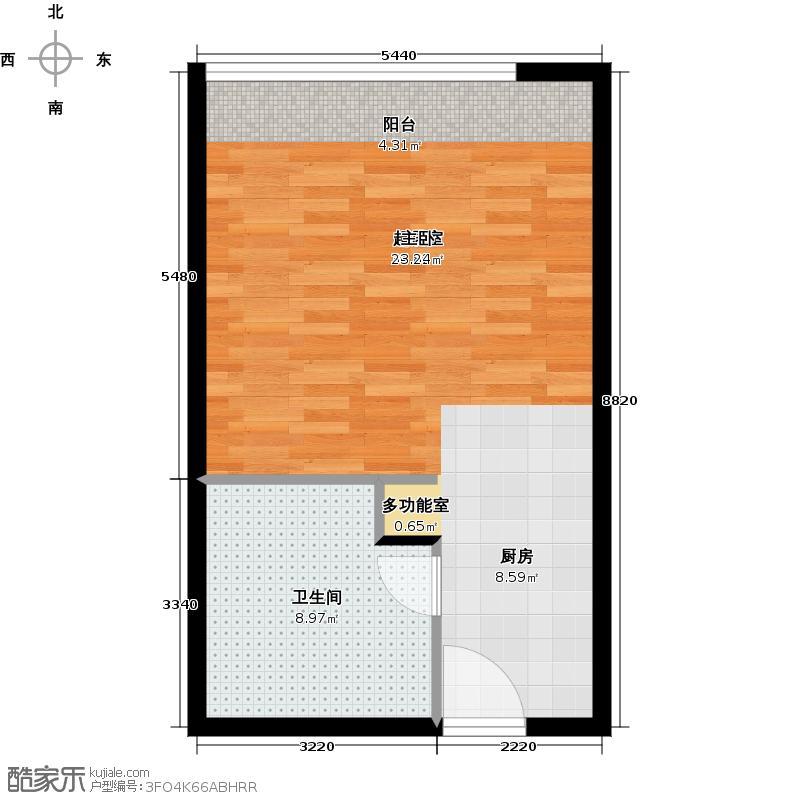 武进吾悦广场48.00㎡苹果公寓E户型1室1厅1卫