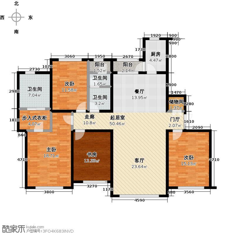 东港第171.24㎡A1#楼D户型4室2厅1卫1厨户型4室2厅1卫
