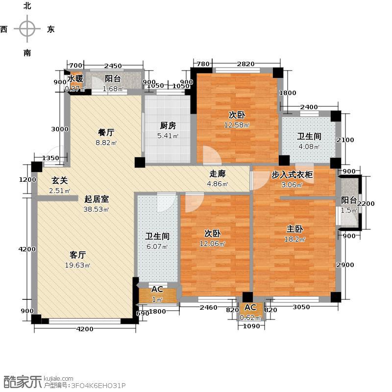 温莎小镇D1户型三室二厅二卫户型3室2厅2卫QQ
