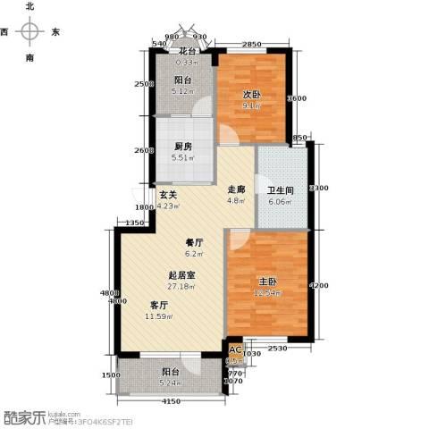 易和岭秀滨城2室0厅1卫1厨101.00㎡户型图