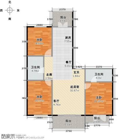 华远水木清华3室0厅2卫0厨113.00㎡户型图