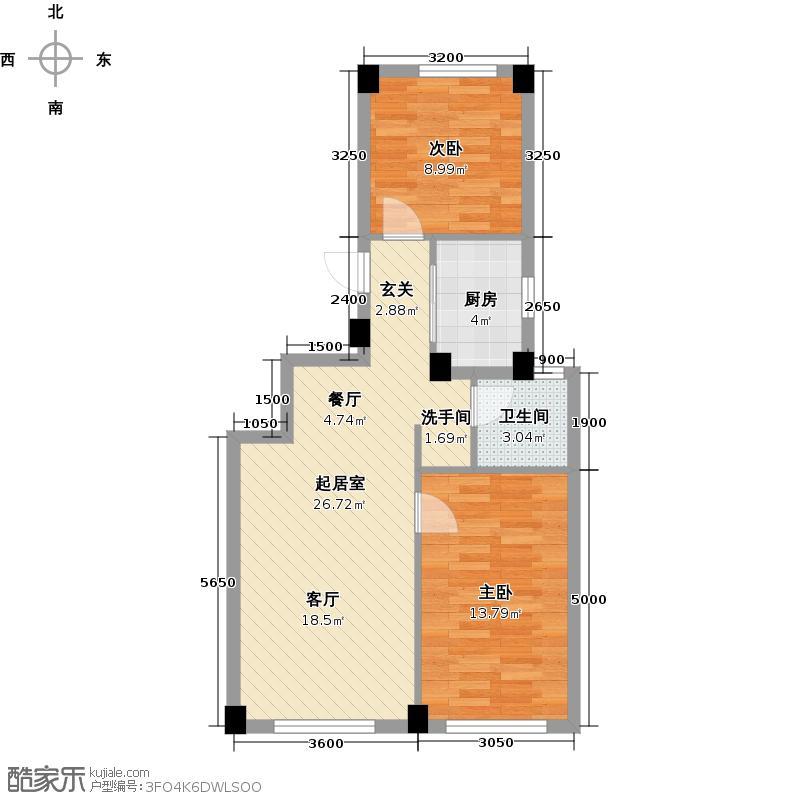耕海广场85.17㎡二室二厅一卫户型2室2厅1卫QQ