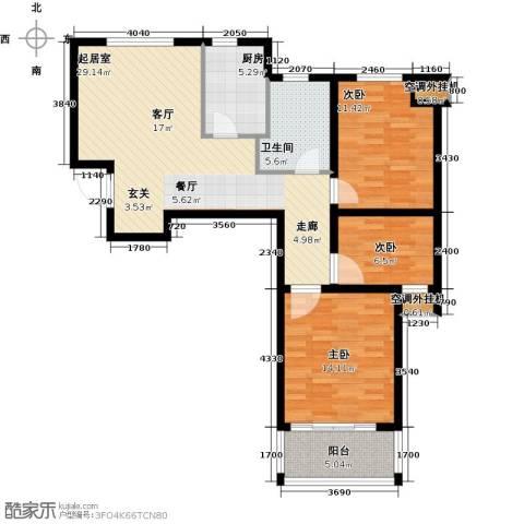 龙德花园3室0厅1卫1厨89.00㎡户型图