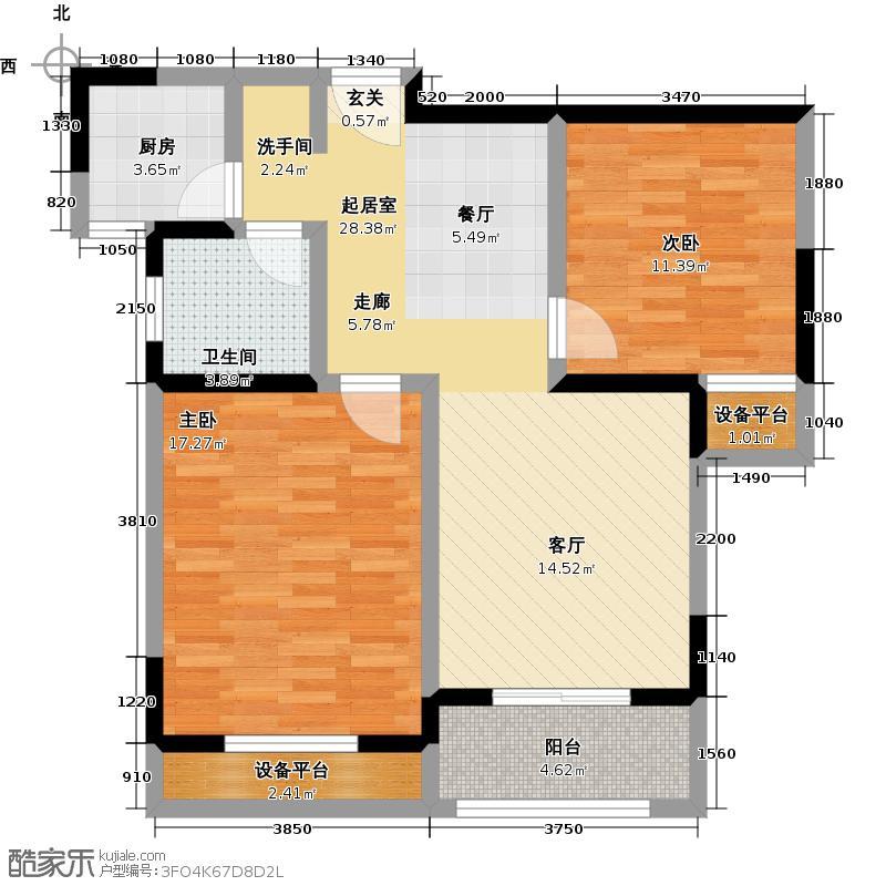 聚盛花园明日星城85.00㎡C户型两室两厅一卫户型
