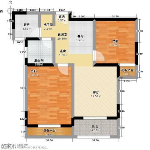 聚盛花园明日星城2室0厅1卫1厨85.00㎡户型图