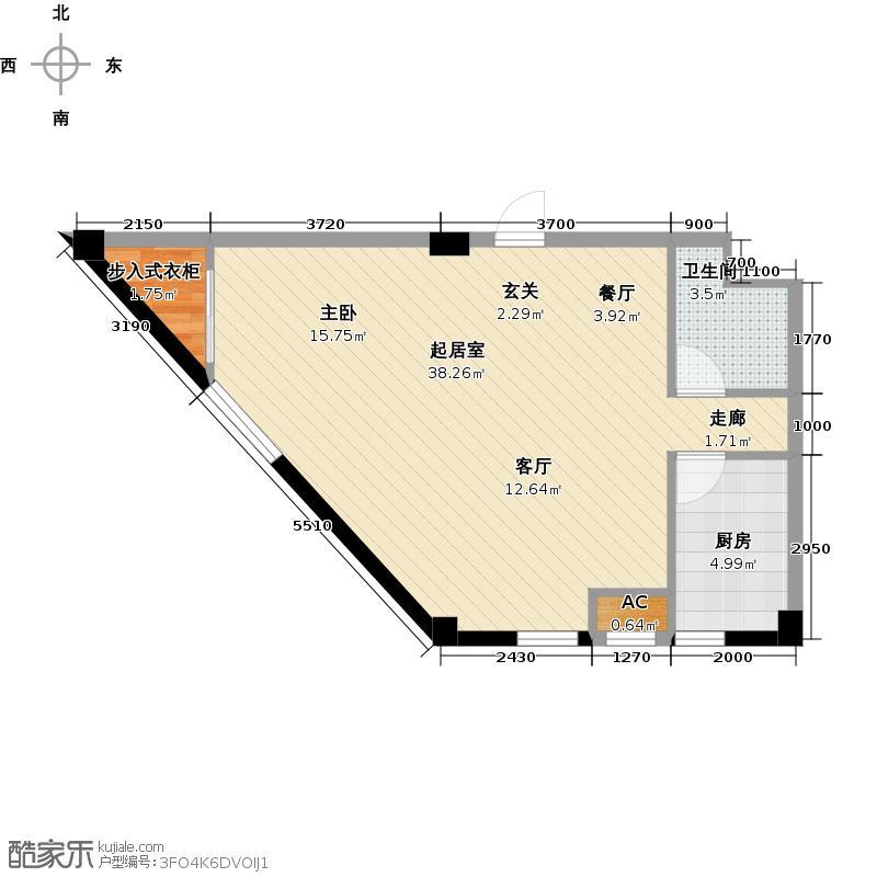 耕海广场74.63㎡一室二厅一卫户型1室2厅1卫QQ