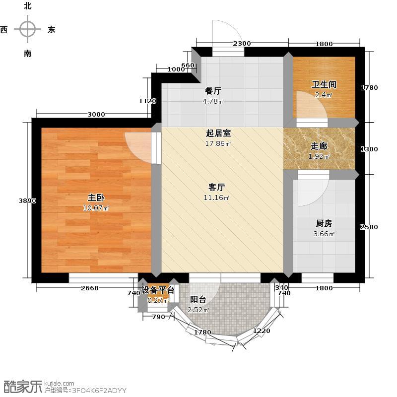 香洲心城三期53.28㎡香洲心城三期53.28㎡1室1厅1卫户型1室1厅1卫