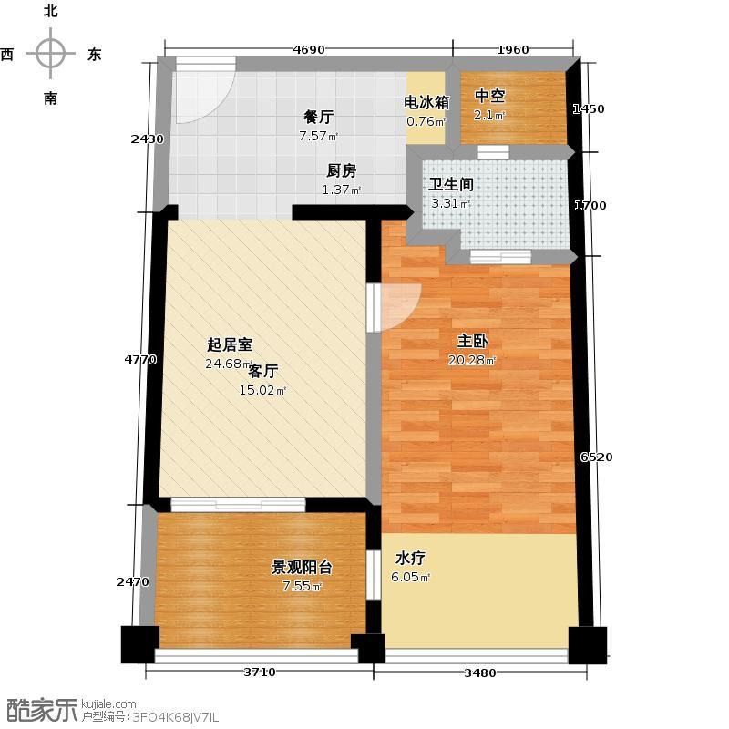 万泽太湖庄园湖景公寓1室1厅1卫1厨60.65㎡户型