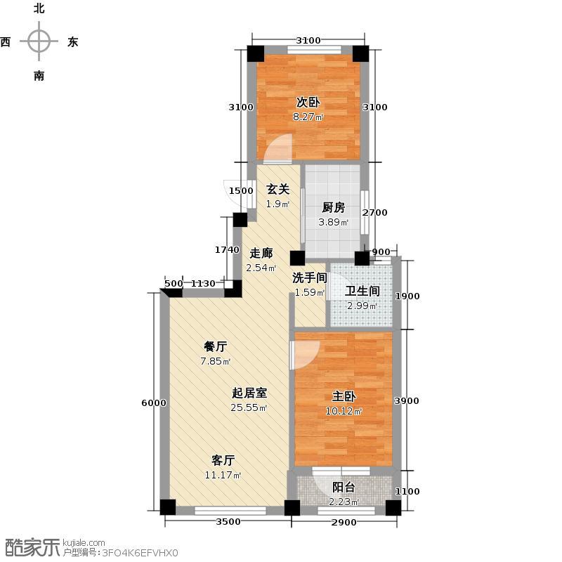 国民院子70.00㎡两室两厅一卫70平米户型图户型QQ