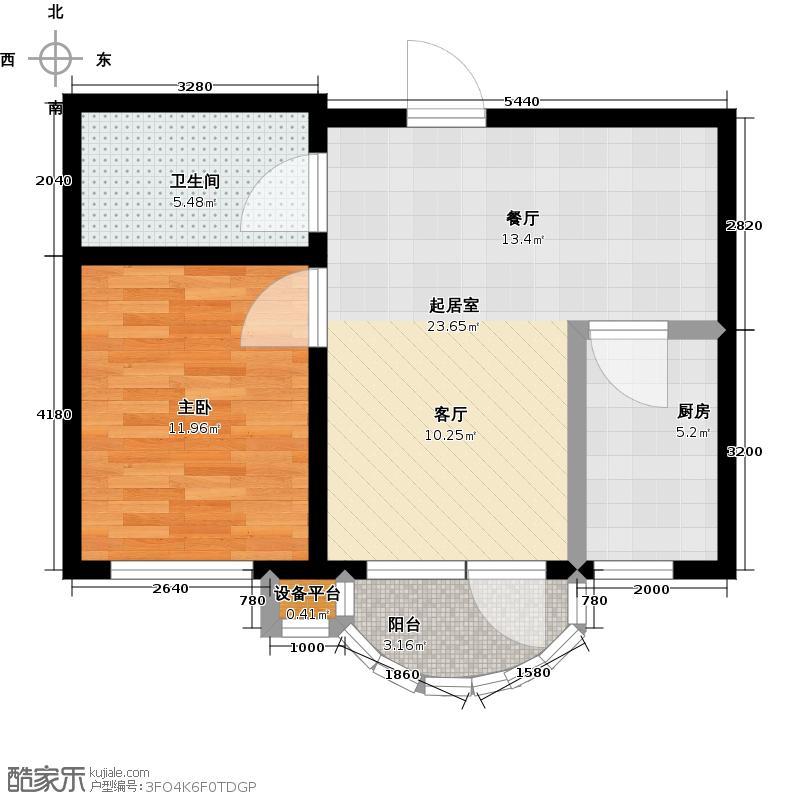 香洲心城三期58.00㎡21、22#A户型1室1厅1卫1厨 58.00㎡户型1室1厅1卫