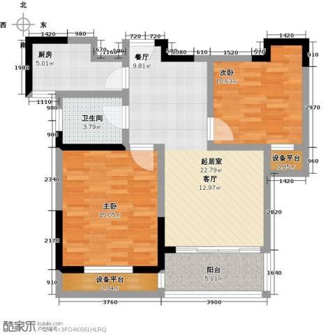 聚盛花园明日星城2室0厅1卫1厨77.00㎡户型图