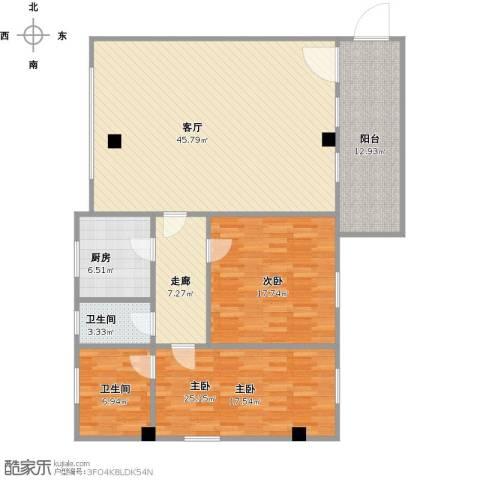 中熙松湖国际2室1厅2卫1厨160.00㎡户型图