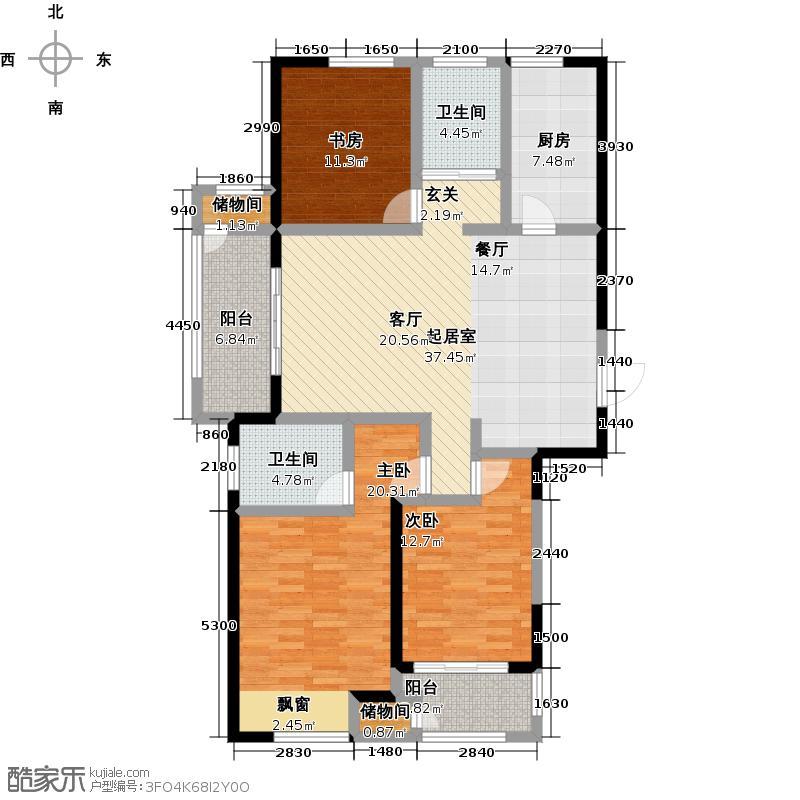 聚湖雅苑129.00㎡A户型3室2厅2卫