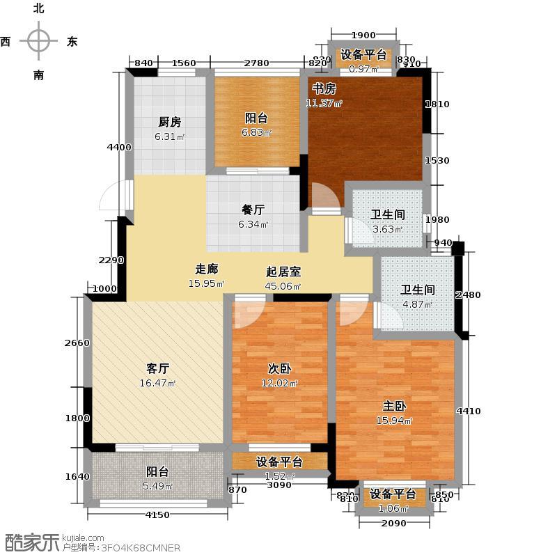 聚盛花园明日星城123.00㎡16#楼B户型三房两厅两卫+空中花园123㎡户型3室2厅2卫